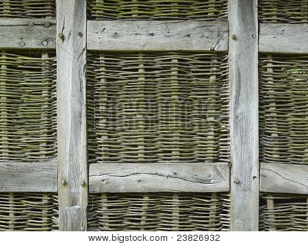Timber framing of a wickerwork wall