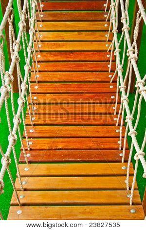 Wood Bridge At Indoor Playground
