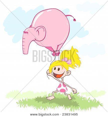 Girl with a balloon an elephant