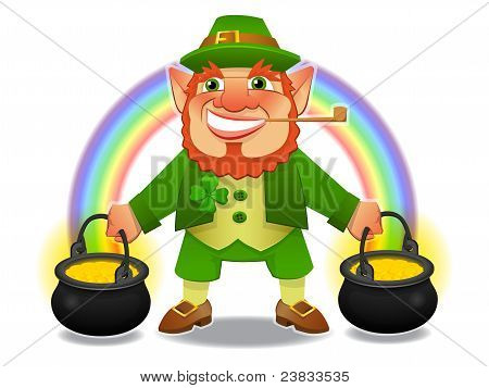 lucky leprechaun with treasure and rainbow