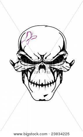 Girly Skull with a Butterfly