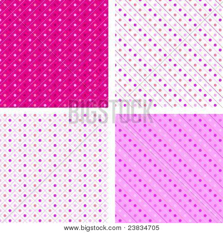 Seamless pattern pois white and pink