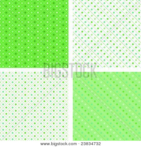 Seamless pattern pois white and green