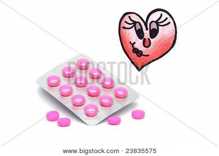 Drugs and illustrated broken heart with a smile on a white background