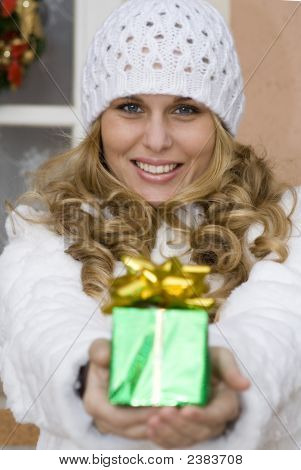 Woman With Christmas Holiday Gift