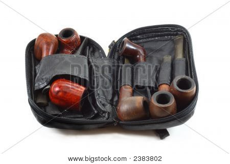 Tobacco Pipe Set In A Leather Bag