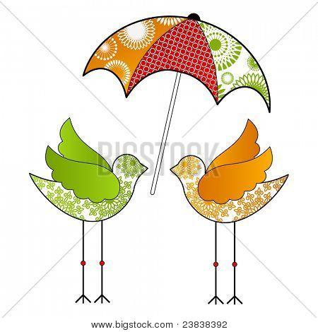 Funky birds with umbrella