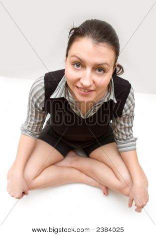 Business Lady Sits On A Floor