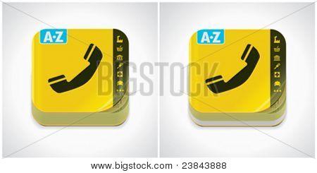 Vector yellow phone book icon