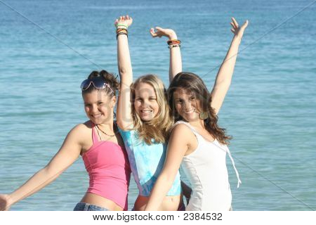 Girls On Summer Beach Vacation