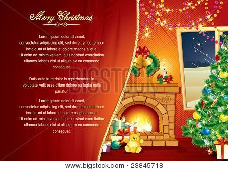 Christmas Greeting Card, Background with decorated Interior, Christmas tree, Festive Fireplace