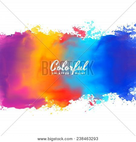 poster of Watercolor Background Hand Paint Splash In Many Colors