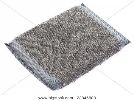 grey metallic scourer isolated on a white background