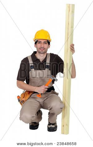 Carpenter with plank of wood and hammer