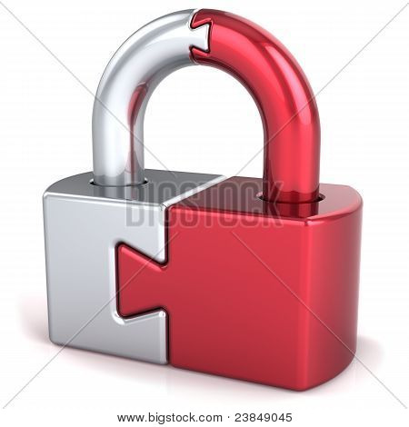 Puzzle lock padlock security icon concept