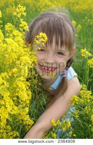 Girl At  A Field Of Yellow Flowers