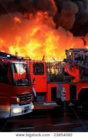 Blazing fire in city