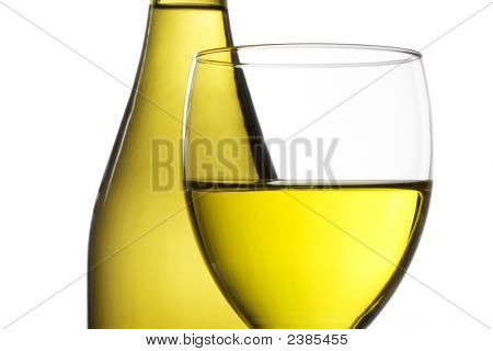 Bottle Of White Wine And Wine Glass
