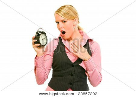 Shocked Business Woman Holding Alarm Clock