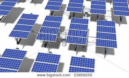 Field Of Articulated Solar Panels At Midday