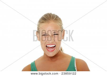 Angry young Woman. Isoliert auf weißem Hintergrund.