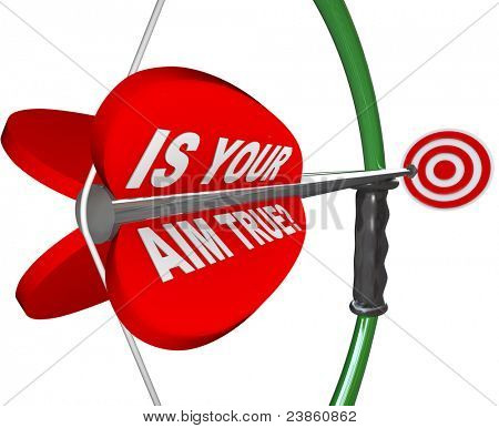 A red arrow is marked Is Your Aim True asking if you are confident and sure in your aiming on a target, challenge or goal
