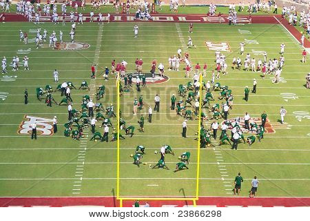 FSU And USF Football Teams Warm Up