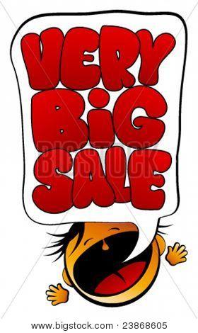 Very Big Sale screaming girl herald.