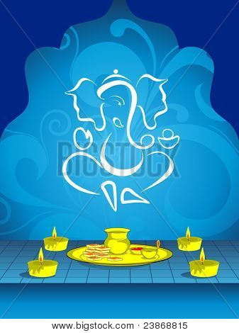 abstract blue floral design background with ganpati and burning candle with pooja's plate for traditional indian festivals deepawali