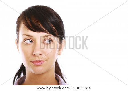 Brunette woman looking aside isolated. Lots of copyspace