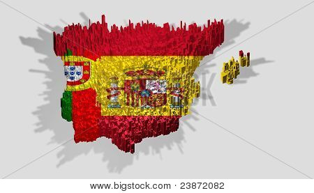 Spain And Portugal Boundary Mounted Over Blocks