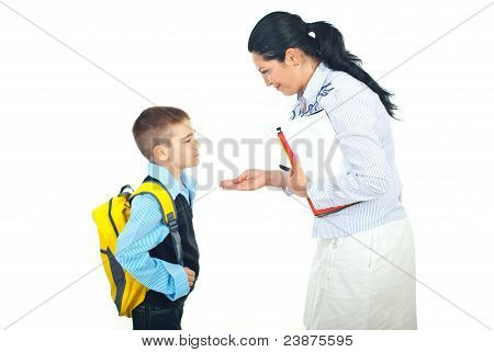 Mother And Son Conversation Before School