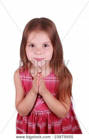 caucasian girl is praying