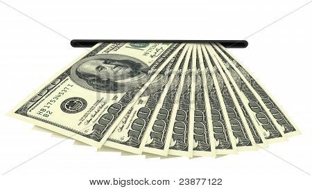 Dollar Banknotes In A Cash Slot