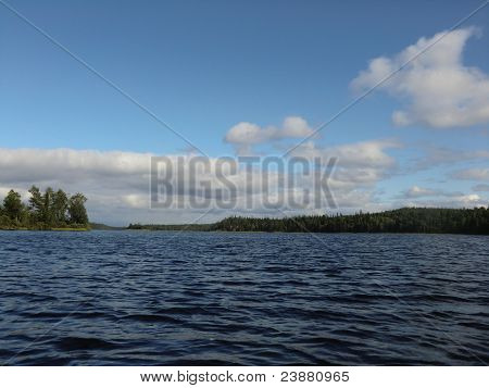 Evening on lake Varatsky in the north of Karelia