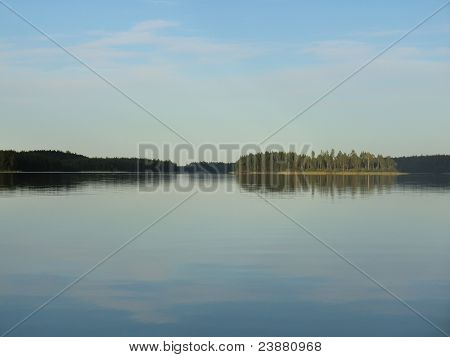 Sunset on lake Varatsky in Karelia