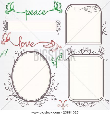 Ornate Vintage Frame Set With Birds