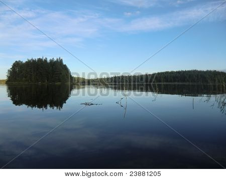 Evening on lake Varatsky in Karelia