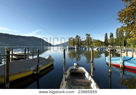 nature, morning of late summer on the lake, pier