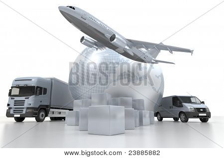 3D rendering of  a world map, goods, a truck and an airplane