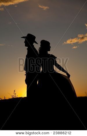 Cowboy Couple Silhouette Back To Back