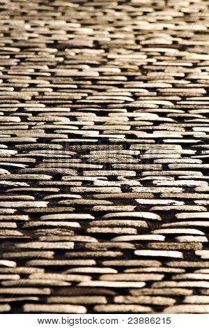 Cobblestone Floor At Sunset