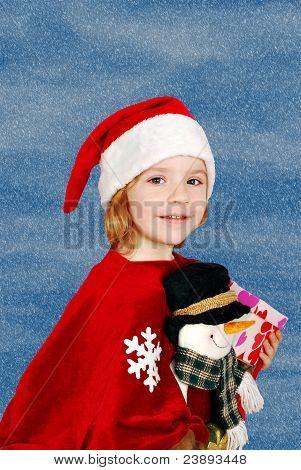beauty little girl Santa Claus
