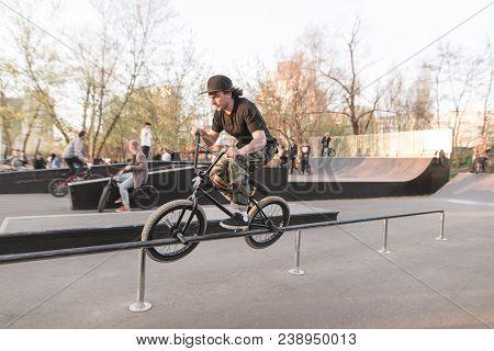 Bmx Rider Performs A Trick