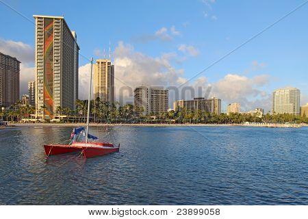Catamaran And Hotels On Waikiki Beach