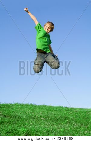 Happy Smiling Child Jumping