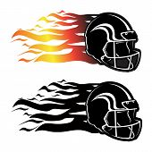 Football Helmet With Black And Fire Combination. Eps 10. poster