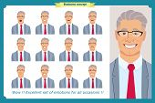 Set Of Male Facial Emotions. Young Business Man Character With Different Expressions.vector Flat Ill poster