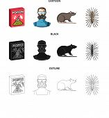 Staff, Packing With Poison And Pests Cartoon, Black, Outline Icons In Set Collection For Design.pest poster