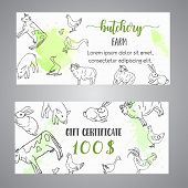Butchery Gift Voucer Hand Drawn Farm Animals Brochure With Reward Coupon. Local Farm Certificate. Fa poster